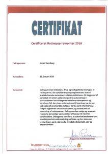 Billede af certifikat, som godtgør at Jakob Vandborg er godkendt som montør af rottefælder og rottespærrer